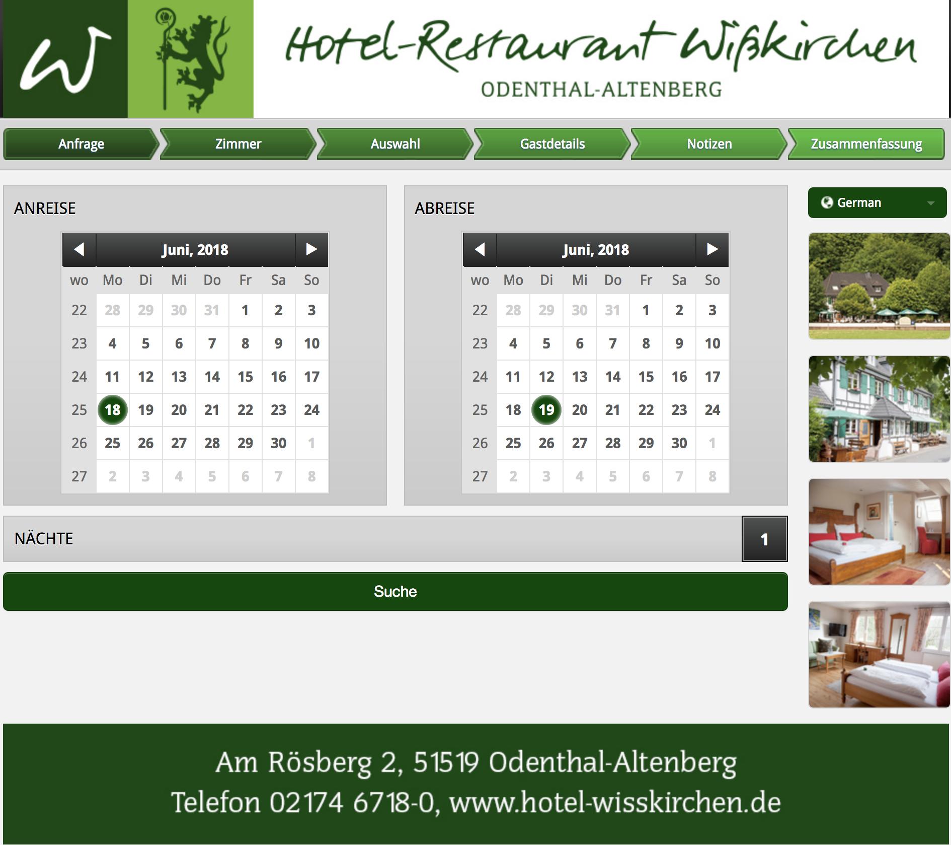 Zimmerreservierung Wisskirchen Hotel Restaurant Cafe